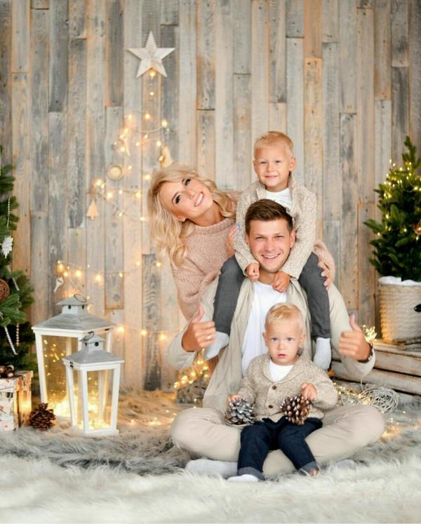 séance photo famille noël déco rustique