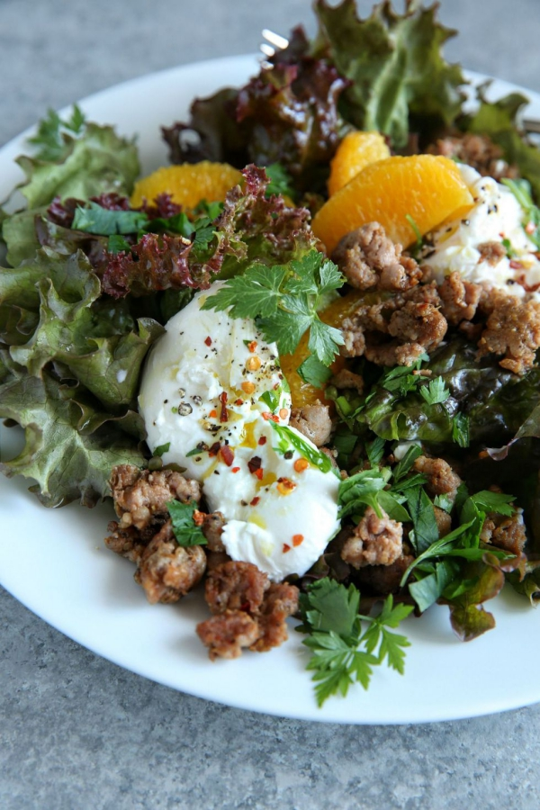 salade d' hiver saucisse croustillante