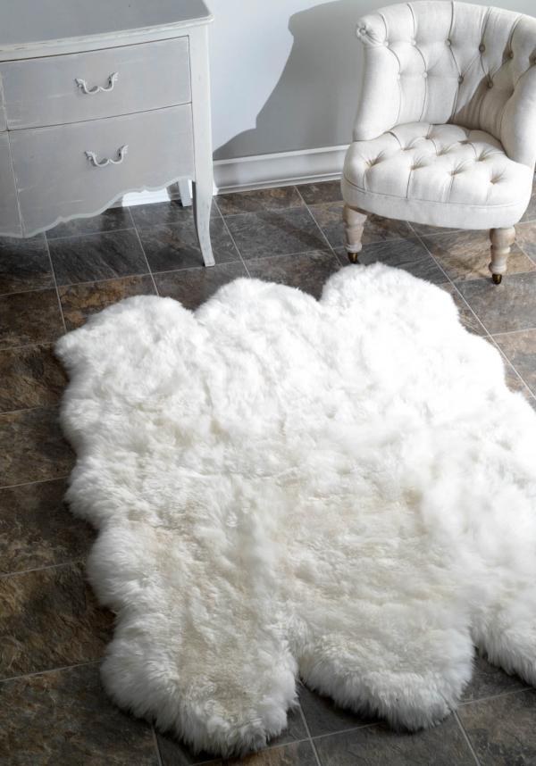 tapis fausse fourrure blanc fourrure épaisse
