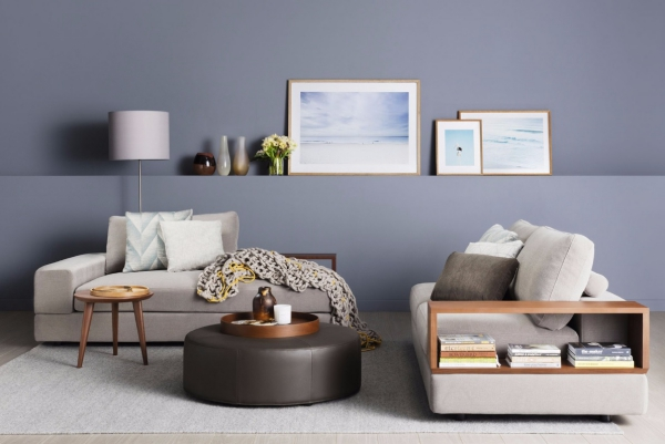tapis fausse fourrure blanc salon en bleu gris