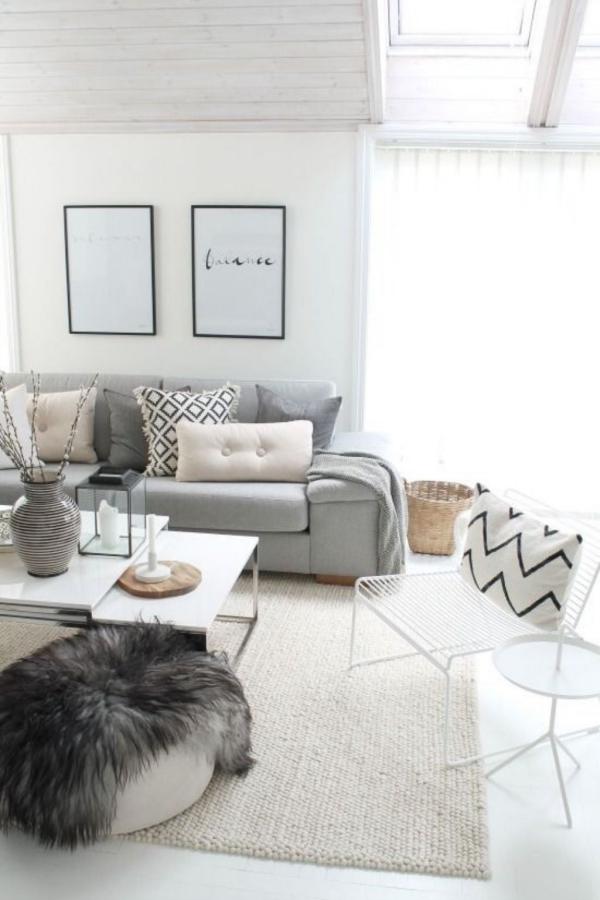 tapis fausse fourrure blanc style scandinave