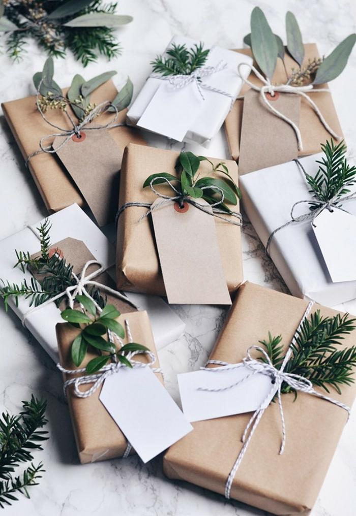 touche de nature et papier cadeau kraft