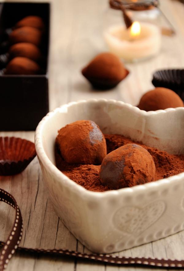 truffes à la table de Noël comme dessert