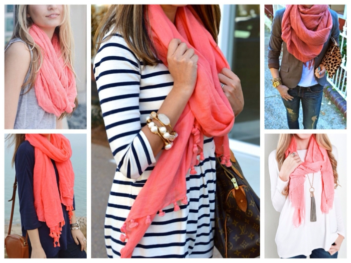 écharpe femme association couleur corail