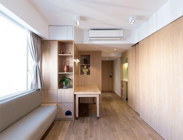 aménagement studio 30m2 clair et élégant