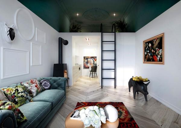 aménagement studio 30m2 couleur sombre de la mezzanine