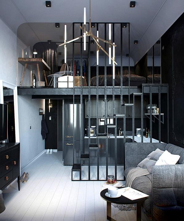 aménagement studio 30m2 couleurs gris foncé et noir