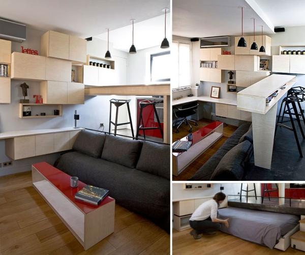 aménagement studio 30m2 cuisine surélevée