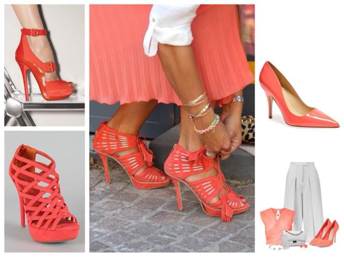 chaussures modernes association couleur corail