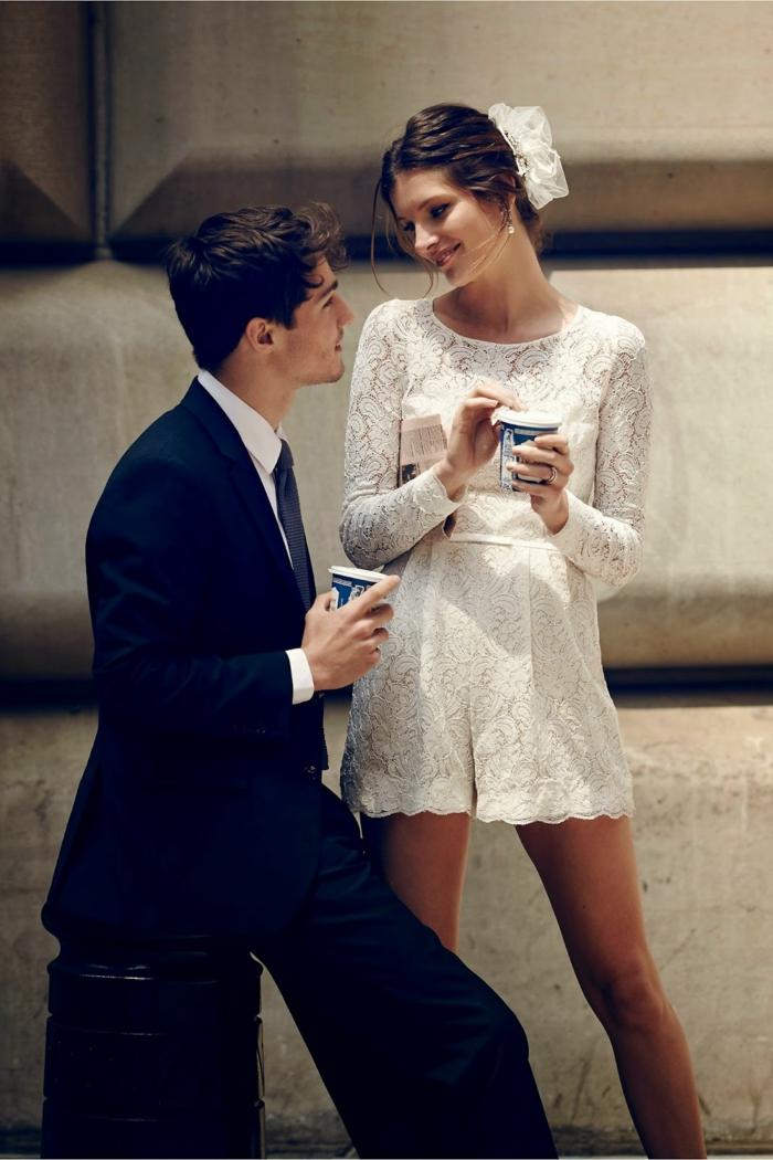 combinaison blanche mariage courte