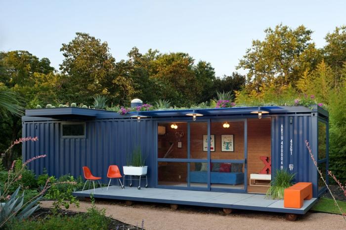 container habitable avec une toiture végétalisée