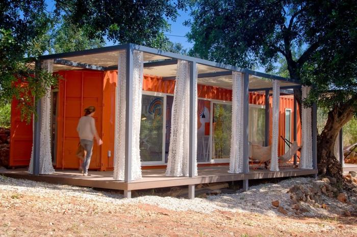 container habitable couleur orange