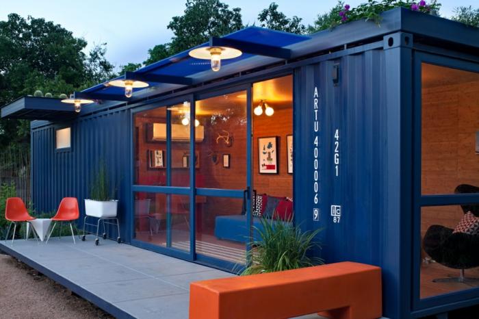 container habitable maison en bleu