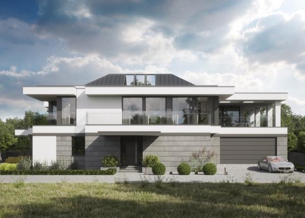 couleur façade maison tendance acier, plâtre et béton