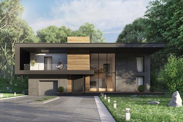 couleur façade maison tendance béton, verre et acier