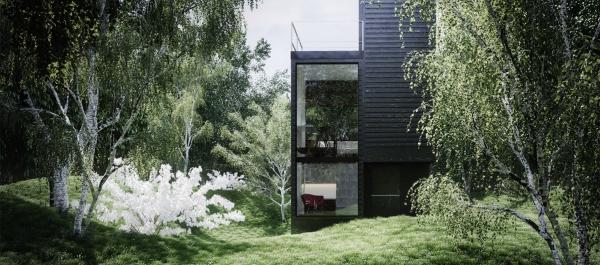 couleur façade maison tendance dans la forêt