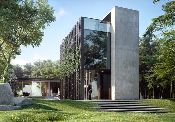 couleur façade maison tendance jardin extérieur sculpté