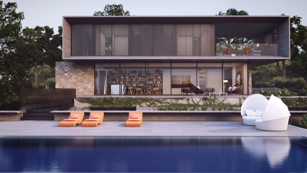 couleur façade maison tendance piscine extérieure