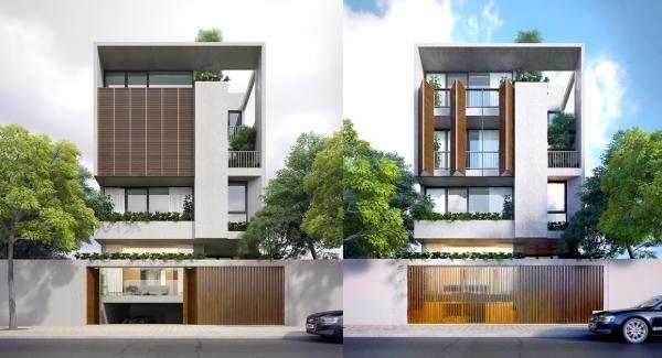 couleur façade maison tendance porte principale aux volets