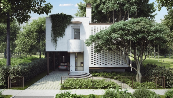 couleur façade maison tendance verdure maison