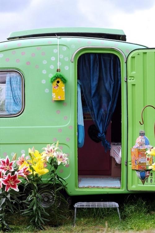 déco caravane couleur verte