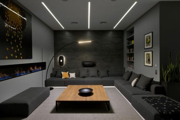 déco salon gris éclairage led table rectangulaire en bois mur en briques noires
