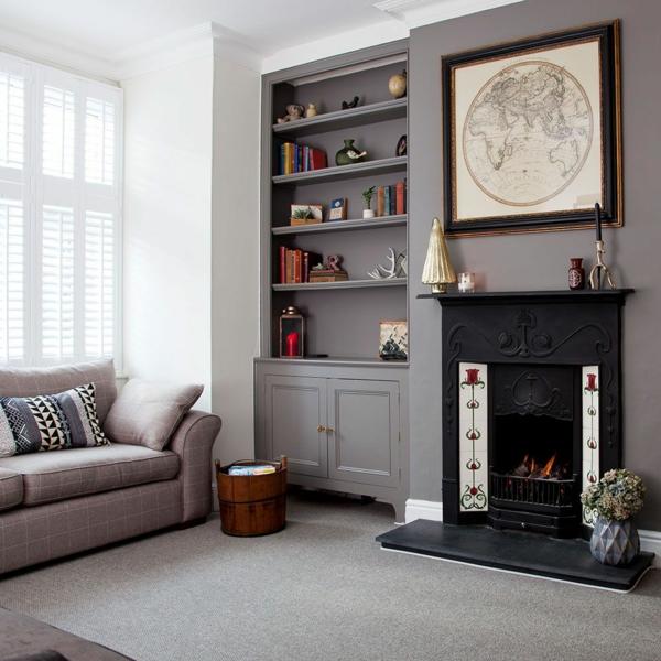 déco salon gris bibliothèque intégrée cheminée noire