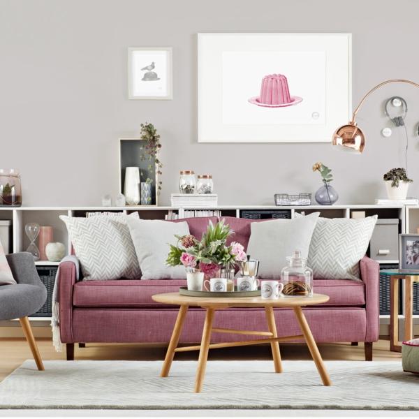 déco salon gris canapé rose poudré accessoires en cuivre