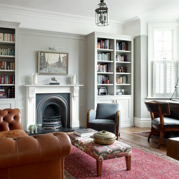 déco salon gris classique tapis floral cheminée