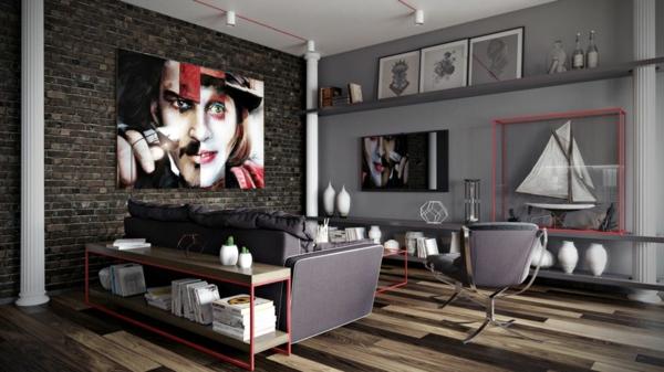 déco salon gris colonnes corinthiennes tableu d'art mural