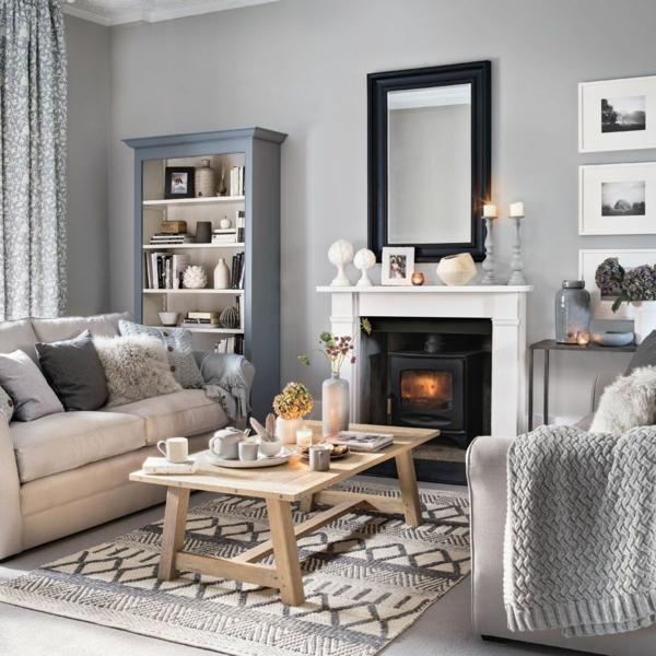 déco salon gris coussins velus tapis à motifs textiles shaggy