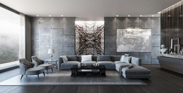 déco salon gris diddérentes nuances art mural