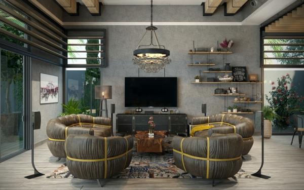 déco salon gris fauteuils en cuir lustre design