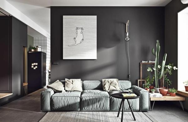 déco salon gris intérieur scandinave sombre