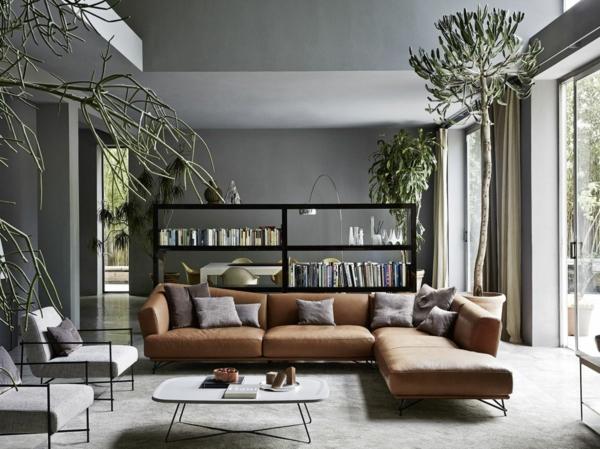 déco salon gris intérieur sophistiqué plantes vertes