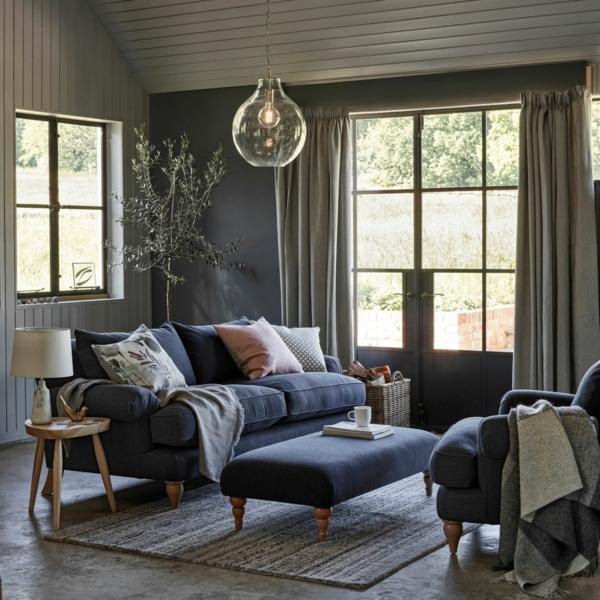 déco salon gris mobilier bleu pastel style campagne