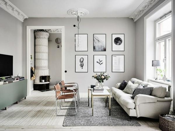 déco salon gris moulures en plâtre style scandinave