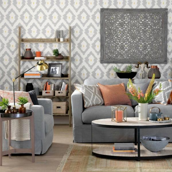déco salon gris table ronde en métal papier peint géométrique