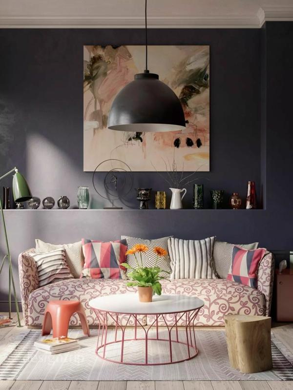 déco salon gris table ronde touches de couleur pêche