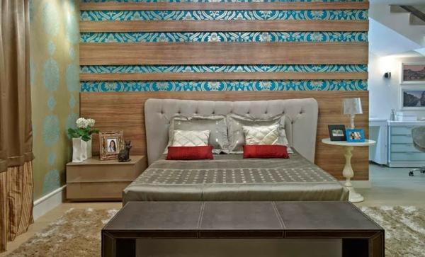 déco tête de lit bois et papier peint