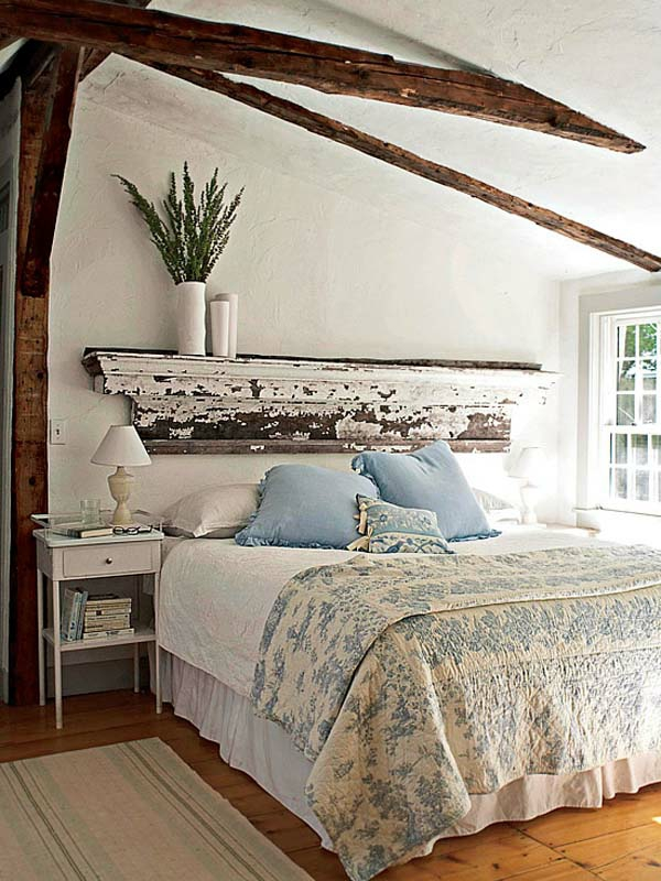 déco tête de lit bois patiné chambre rustique