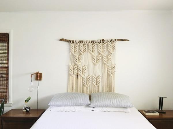 déco tête de lit bois suspension en macramé