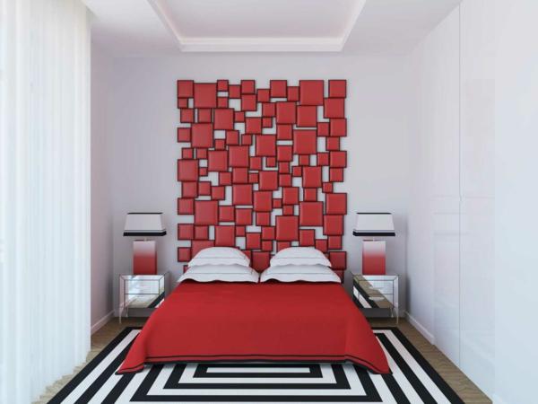 déco tête de lit carreaux rouges effet mosaïque