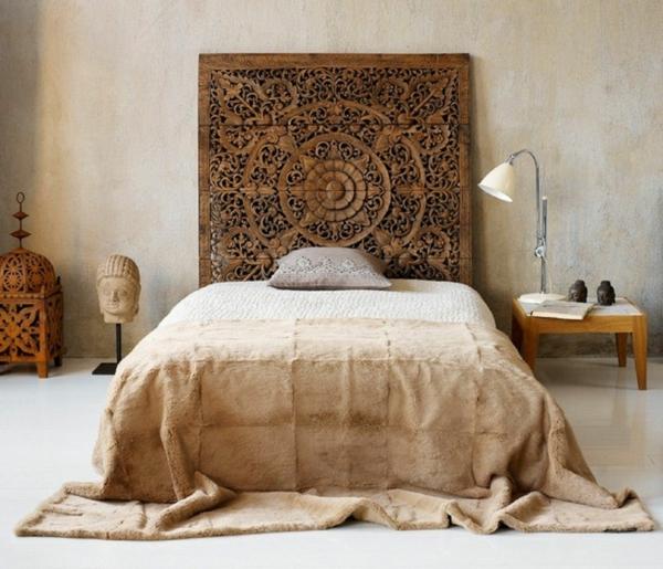 déco tête de lit design indien bois
