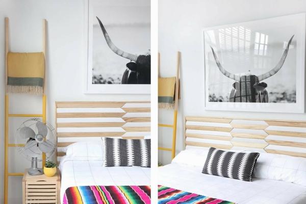déco tête de lit mosaïque en bois