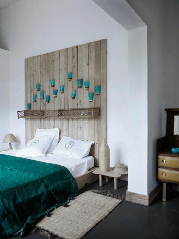 déco tête de lit rustique planches de bois