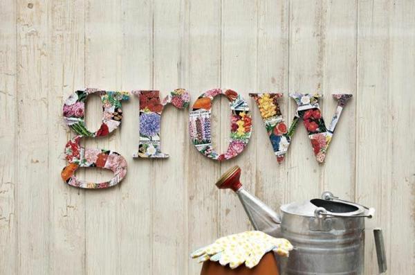décorer son jardin avec des objets de récupération bois papier recyclé