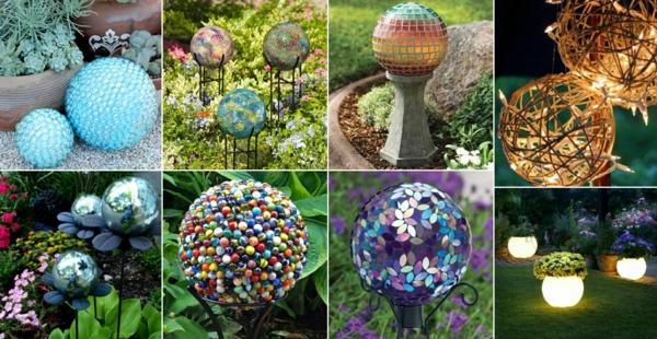 décorer son jardin avec des objets de récupération boules recyclage