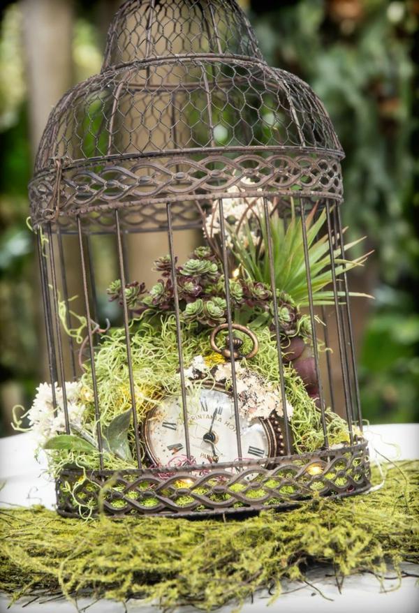 décorer son jardin avec des objets de récupération cage d'oiseaux