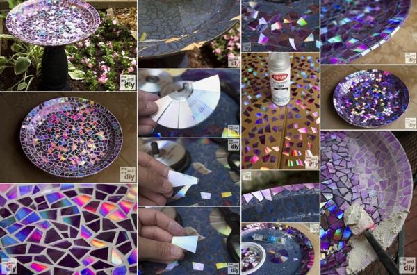 décorer son jardin avec des objets de récupération disques cd